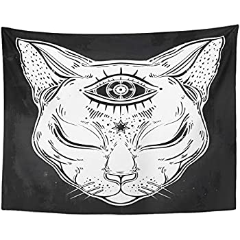 Emvency Tapestry Polyester Fabric Print Home Decor Black Cat Head Portrait with Moon and Three Eyes Third is Open for Halloween Wall Hanging Tapestry for Living Room Bedroom Dorm 60x80 Inches
