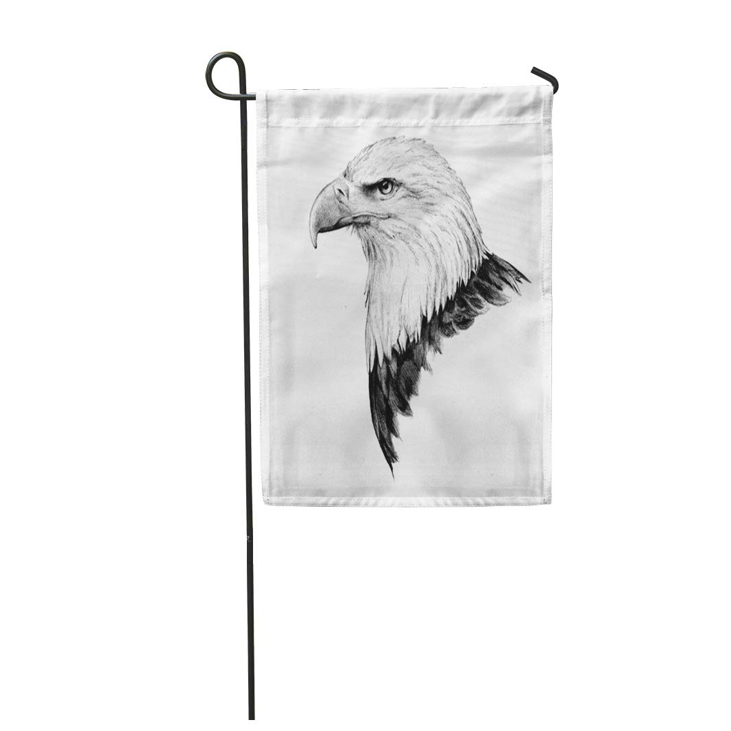 Semtomn 12x 18 garden flag bald eagle head sketch in detailed side view drawing home outdoor decor double sided waterproof yard flags banner for party