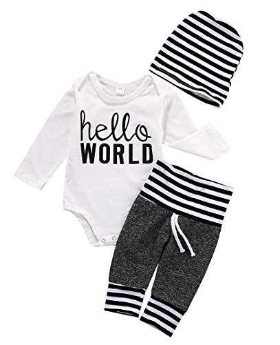 Baby Romper Onesie Outfit 3Pcs Boys Girls Long Sleeve Bodysuit Pants Hat Costume (3~6months) (Thanksgiving Outfit For Baby Boy)