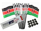 Box of 12 Kenya 4''x6'' Polyester Miniature Desk & Little Table Flags, 4x6 Kenyan Small Mini Hand Waving Stick Flags with 12 Flag Bases (Stands)