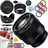 Sony FE 85mm F1.8 Full-Frame E-Mount Fast Prime Lens SEL85F18 Bundle with 67mm Filter Sets, Lens Hood, 3 pc Cleaning Kit and Accessories (4 Items)