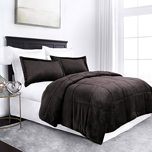Sleep Restoration Micromink Goose Down Alternative Comforter Set - All Season Hotel Quality Luxury Hypoallergenic Comforter/Blanket with Shams - Full/Queen - Chocolate (Brown Comforter Set Bed)