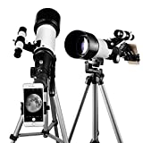 Astronomy Telescope 70mm Apeture 400mm AZ Refractor Scope - Travel Telescope with Backpack, Tripod and Smartphone Adapter for Kids and Beginners to View Moon and Planet