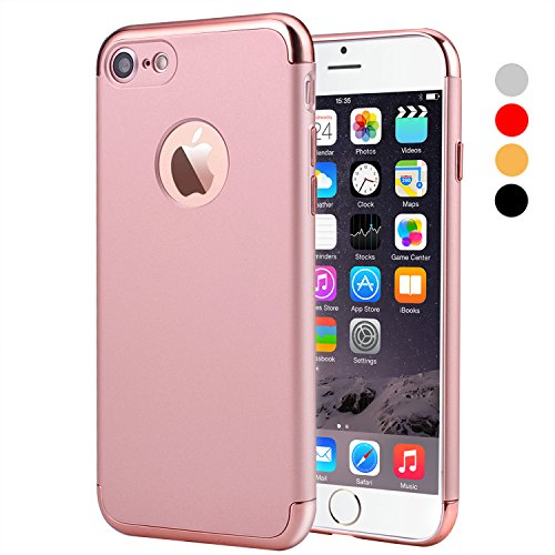 Slim Rose (iPhone 7 Case, VANSIN 3 in 1 Ultra Thin and Slim Hard Case Coated Non Slip Matte Surface with Electroplate Frame for Apple iPhone 7 (4.7'')(2016) -- Rose Gold)