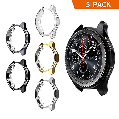 (iHYQ Case for Samsung Gear S3 Frontier SM-R760,TPU Scractch-Resist Shock-Proof All-Around Protective Bumper Shell Protective Band Galaxy Watch SM-R800 46mm Smartwatch (5 Pack))