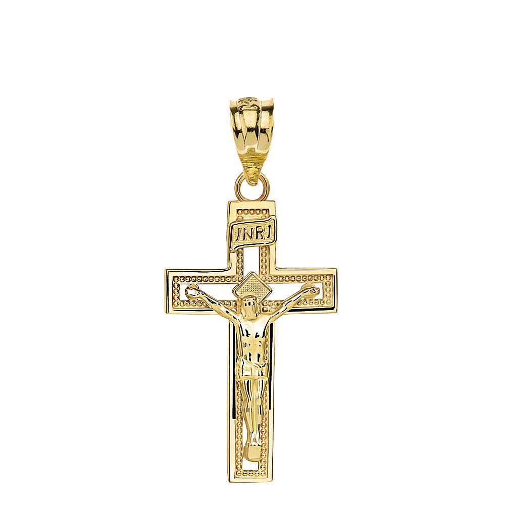 14k Yellow Gold INRI Crucifix Cross Catholic Jesus Pendant