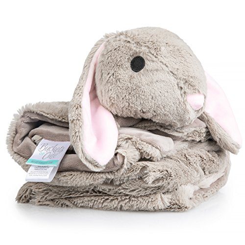 """Plush, Knitted Fleece Baby Blanket – Large [30""""x30in], Warm Security Blanket for Babies & Toddlers – Fuzzy, Fluffy Comfort in Adorable Animal Friend Design (Bailey The Bunny) by Buckets of Cute"""