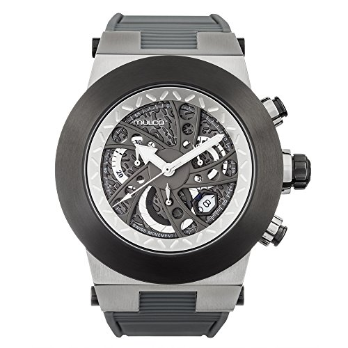 Mulco Evol Daccar Quartz Swiss Chronograph Men's Watch | Premium Analog Display with Gun Metal and Steel Accents | Silicone Watch Band | Water Resistant Stainless Steel Watch (Grey) (Accents Grey Silicone)