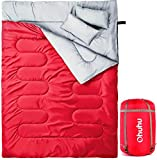 Ohuhu Double Sleeping Bag with 2 Camping Pillows, Waterproof Lightweight 2 Person Adults Sleeping Bag for Camping, Backpacking, Hiking, Bonus Carrying Bag, Black (Red)