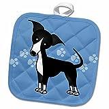 3dRose Janna Salak Designs Dogs - Cute Black Italian Greyhound Blue with Pawprints - 8x8 Potholder (phl_25371_1)