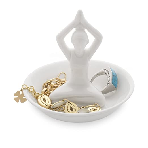 Balvi - Yoga Porta Anillos de cerámica. Bandeja para Dejar Anillos y Joyas. Fabricado en cerámica. Forma de Yoga.