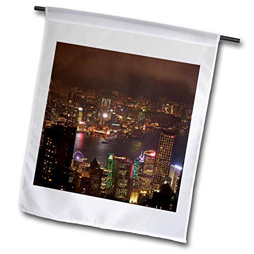 - 3dRose Danita Delimont - Hong Kong - Kowloon, Victoria Harbor, Central, from Victoria Peak, Hong Kong - 18 x 27 inch Garden Flag (fl_312604_2)