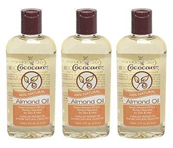 Cococare 100% Almond Oil 4 oz. (Pack of 2) Fresh - Sugar Lip Treatment Advanced Therapy - 4.3g/0.15oz
