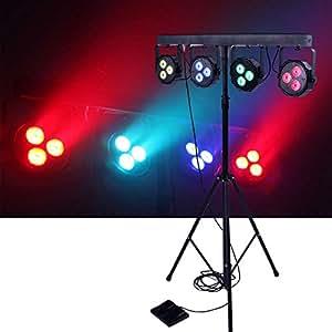 dragonx 4 bar led mobile dj stage lighting packages led wash stage light system dj light kit gig. Black Bedroom Furniture Sets. Home Design Ideas
