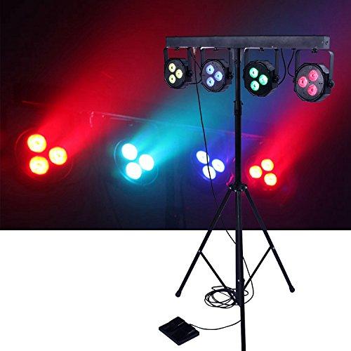 DragonX 4 Bar LED mobile DJ Stage Lighting Packages/LED Wash Stage Light System/DJ Light Kit Gig Bar Package Set/ Sound Activated LED Lights for Stage