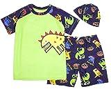 stylesilove Kids Boy Cartoon Dinosaur Shark Rashguard Top & Swim Shorts with Hat 3 pcs Set (Yellow Dinosaur/Green, 2XL/9-11 Years)