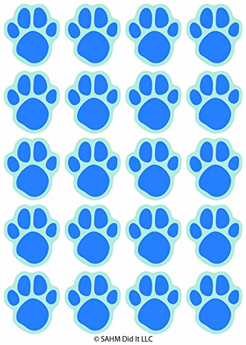 (SAHM Blue Paw Print Stickers - 120 Dog Cat Animal Paws 1 inch Small for Boy Or Girl - Great for Birthday Party Favors - Clues - Scrapbook - Calendar - Teachers Reward - Labels)