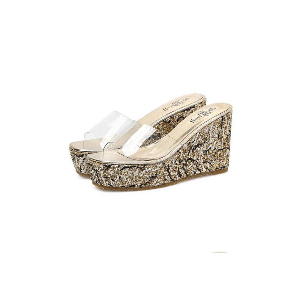 Sandalias de tacón alto de las sandalias de tacón alto de las mujeres de gran tamaño de código pequeño de la plataforma Sandalias y zapatillas tamaño 34-40 ( Color : Gold , Size : 36 2/3 EU ) 36 2/3 EU|Gold