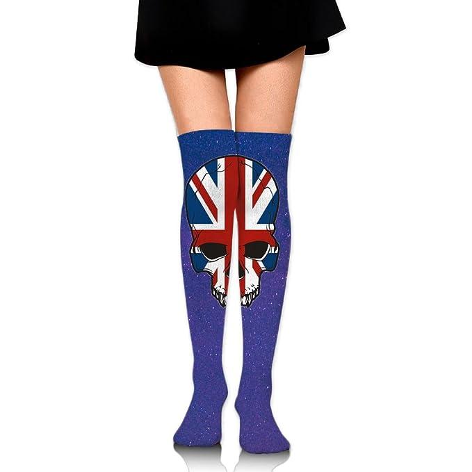 cc2938edd Amazon.com  British UK Flag Sugar Skull Women s Fashion High Socks Stockings  Over The Knee  Clothing