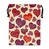 Packing Organiser Valentines Day Artistic Colorful Hearts Drawstring Bags for Travel, Luggage Bag