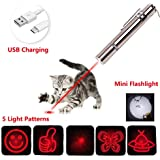 Ulako Multi-Pattern Funny Pet Cat Dog Chaser Toy LED Flashlight Interactive Chase Cat Toys USB Rechargeable Command Light Pet Training Tool Crazy Chase