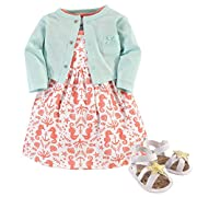Hudson Baby Baby Girls 3 Piece Dress, Cardigan, Shoe Set, Sea, 9-12 Months