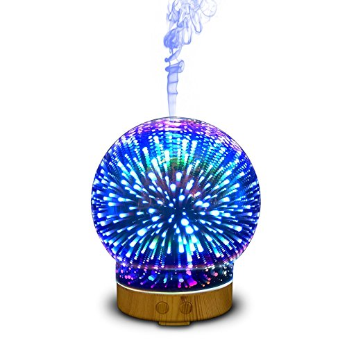 EA-Miao Aromatherapy Machine Humidifier Fragrance Lamp Colorful Night Light 3D Ultrasound Creative Gift Office ()