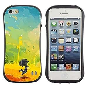 Fuerte Suave TPU GEL Caso Carcasa de Protección Funda para Apple Iphone 5 / 5S / Business Style kids painting vibrant yellow summer