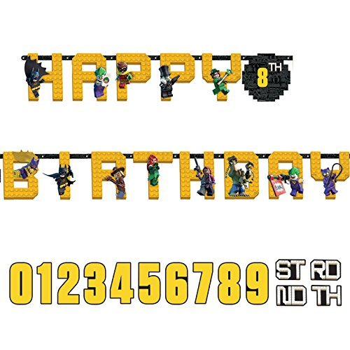 Lego Batman Birthday Party Supplies (amscan Lego Batman Jumbo Add-an-Age Happy Birthday Letter Banner - Print)