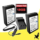 Two Halcyon 1800 mAH Lithium Ion Replacement Battery and Charger Kit + 16GB Compact Flash Memory Card for Olympus Evolt E-620 12.3 MP Digital SLR Camera and Olympus BLS-1