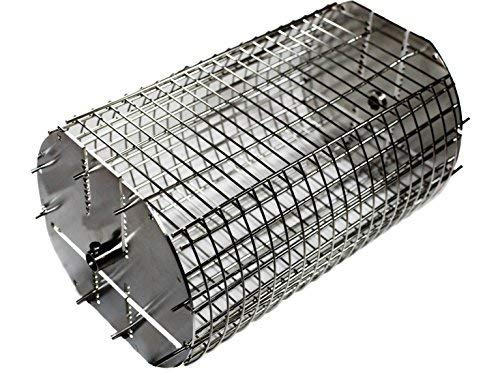 OneGrill Performer Series Kamado Grill Fit Rotisserie Spit Rod Basket; Stainless Steel Tumble & Flat Basket in One. (Fits 5/16 Inch Square Spits)