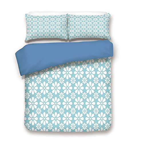 (Duvet Cover Set Twin Size, Decorative 3 Piece Bedding Set with 2 Pillow Shams,Symmetrical Big and Small Daisy Flowers Classical Monochrome Nostalgia Decorative)