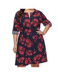 Women's Plus Size Dress, S.Charma Casual Loose Long Sleeve T-Shirt Mini Skirt