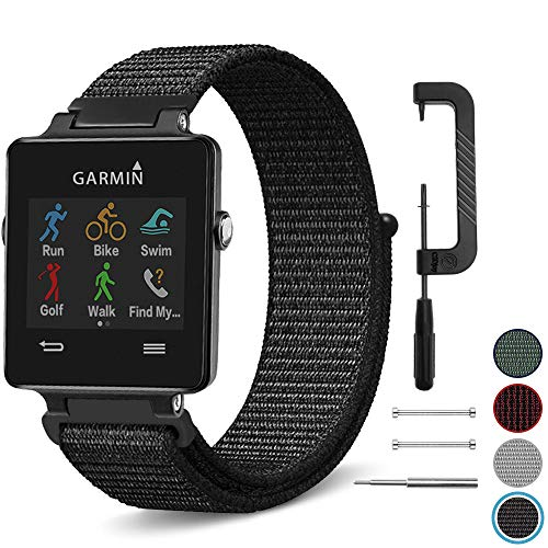 C2D JOY Compatible with Garmin vivoactive Replacement Bands GPS Watch Sport Loop Band Nylon Weave with an Easily Adjustable Hook‑and‑Loop Fastener - Black, Regular