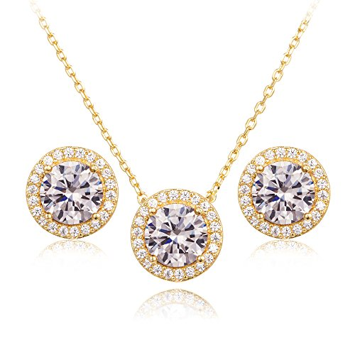 (CC&La Dame Cubic Zirconia Round Halo Stud Earrings and Pendant Necklace Jewelry Set (Yellow Gold))