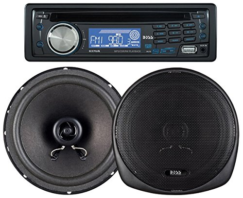 BOSS AUDIO 647CK Package Includes 637UA Single-Din CD AM/FM CD Receiver With USB Port Plus one Pair of 6.5 inch Speakers Kit Crown Jeep Tune