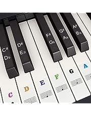 Piano Keyboard Stickers voor 37/49/54/61/88 Toetsen, Fansjoy Kleurrijke Muziek Elektronische Piano Toetsenbord Opmerking Stickers voor kinderen Beginners, Transparant en Verwijderbaar