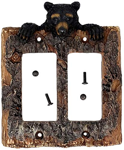 Rainbow Trading RA 3711 Black Bear Decorative Double Rocker Switch Plate Cover