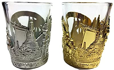 Beautiful set of 2 thai shot glass with thai temple alloy handmade