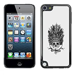 rígido protector delgado Shell Prima Delgada Casa Carcasa Funda Case Bandera Cover Armor para Apple iPod Touch 5 /Indian Chief Headgear Feathers Native/ STRONG