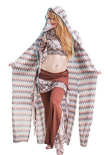 Belly Dance Sheer Hooded Caftan | Chebba Hoodie - Light - One Size Hooded Caftan