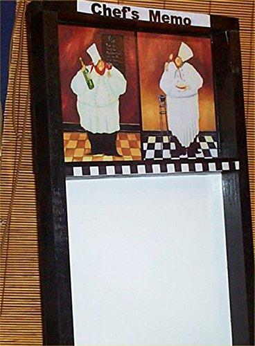 Memo Board Fat Chef Bistro Home Handcrafted Wood erasable Marker Board Blk/org