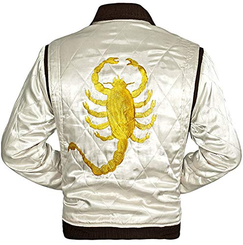 Ryan Drive Golden Scorpion Mens Quilted Trucker White Satin Fabric Bomber Jacket (L/Body Chest 42