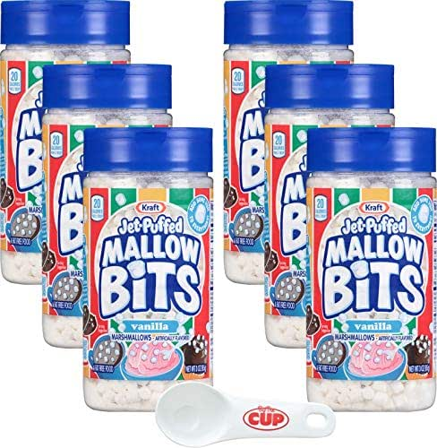Kraft Jet-Puffed Mallow Bits Vanilla Flavor Marshmallows 3 Ounce (Pack of 6) with By The Cup Portion Scoop