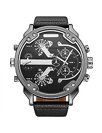 OULM Brand Military Watch Men Quartz Analog Leather Clock Men Sport Watch Army Black Watch Relogios Masculino