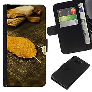 KLONGSHOP // Tirón de la caja Cartera de cuero con ranuras para tarjetas - Otoño de madera del grano Naturaleza - Samsung ALPHA G850 //