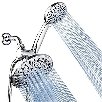 """AquaDance 7"""" Premium High Pressure 3-way Rainfall Shower Combo for the Best of Both Worlds - Enjoy Luxurious 6-setting Rain Showerhead and 6-setting Hand Held Shower Separately or Together!-3328"""