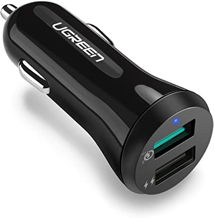 Fast Car Charger Quick Charge Adapter 30W Dual Port USB 3.0 Compatible iPhone Samsung Galaxy Phone Tablet