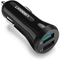 UGREEN Fast Car Charger Adapter 30W 5.4A Dual USB Quick Charge QC 3.0 3A and iSmart 2.4A USB for iPhone 11 Pro Max Xs X Xr 8P 7 6, iPad, Galaxy S10 S10 Plus S8 S8 Plus S9 S7 Note 8, LG V20 G6 G5