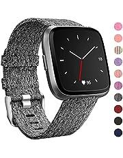 HUMENN Für Fitbit Versa Armband, Woven Ersetzerband Verstellbares Zubehör Uhrenarmband mit Edelstahlschnalle Für Fitbit Versa Klein Große, 10 Colours